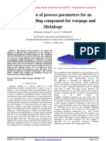 Investigation of process parameters for an Injection molding component for warpage and Shrinkage