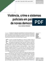 Violência, crime e sistemas policiais em países de democracia recente