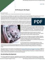 Researchers Developing 3D Printing for Die Repair