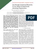 Supplier Selection through Analytical Hierarchy Process