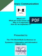 Interdisciplinary Communication IIIS 2013