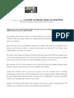 Razones para invertir en bienes raices en Lima Peru