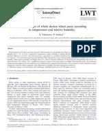 Drying Kinetics of Whole Durum Wheat Pasta According