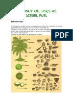 Coconut Oil Uses as Diesel Fuel