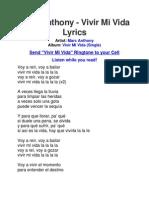 Lyrics of Vivir Mi Vida by Marc Anthony