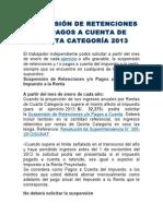 SUSPENSIÓN DE RETENCIONES RENTAS DE CUARTA