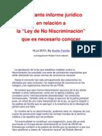 Importante informe jurídico en relación a la Ley de No iscriminación que es necesario conocer