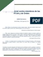 Iniquidad Judicial Contra Miembros de Las Fuerzas Armadas y Carabineros en Chile