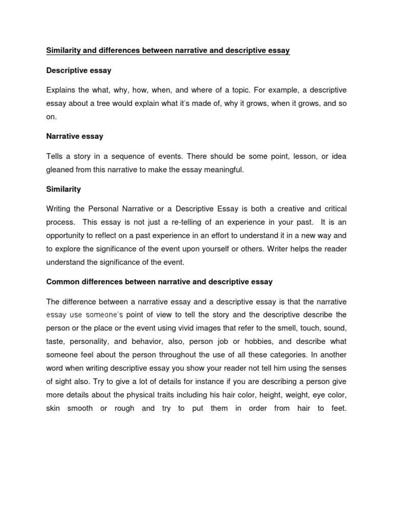 Difference between descriptive essay narrative essay custom paper help