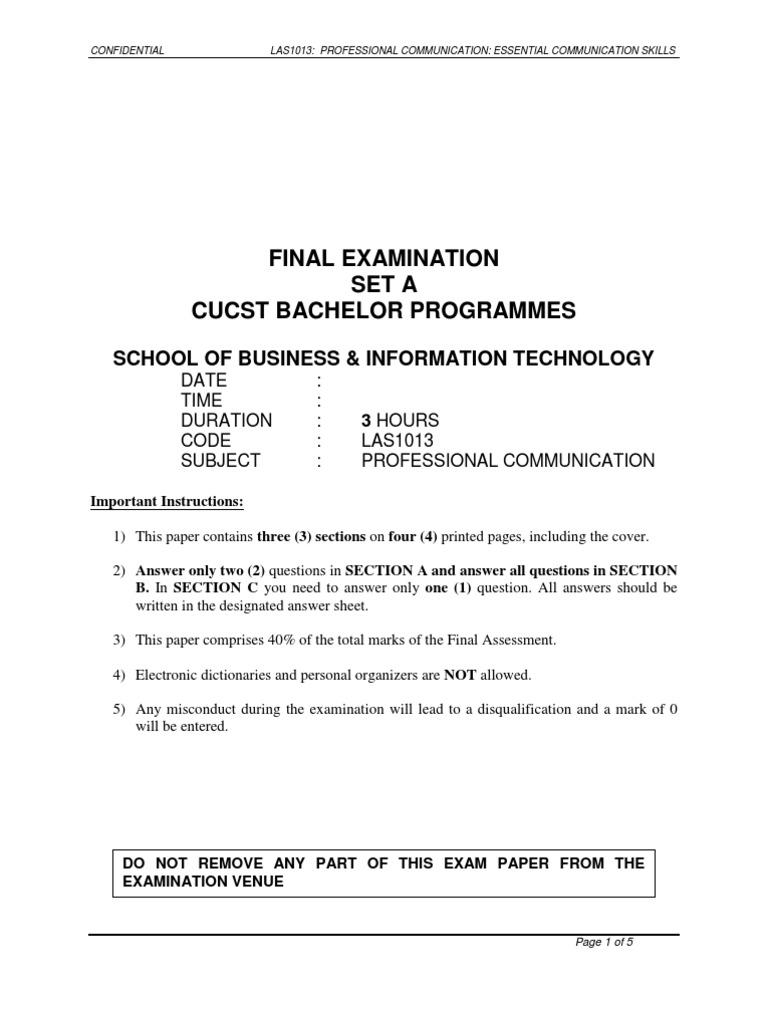 Final Examination Set A Cucst Bachelor Programmes: School Of