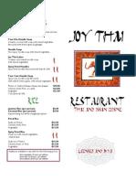 Joy Thai Dine in Menu- 2008