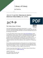 DeTocqueville a Democracy in America 01 En