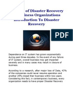 Concept of Disaster Recovery in Business Organizations