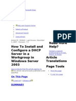 How To Install and Configure a DHCP Server in a Workgroup in Windows Server 2003