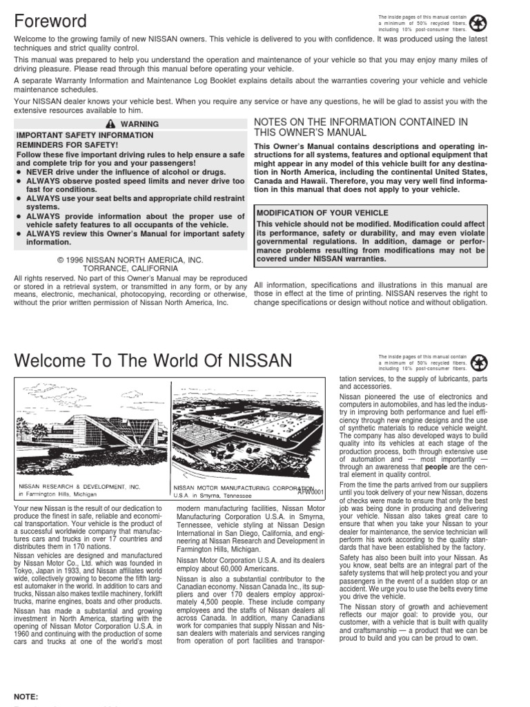 Nissan Sentra Owners Manual: Engine block heater (if so equipped)