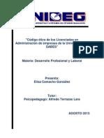 Código ético de los Licenciados en Administración de empresas de la Universidad del SABES