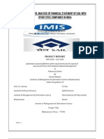 35035513 Comparative Analysis of Financial Statement of Sail With Other Steel Companies in India