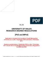 Postgraduate Research Regulation Wales University
