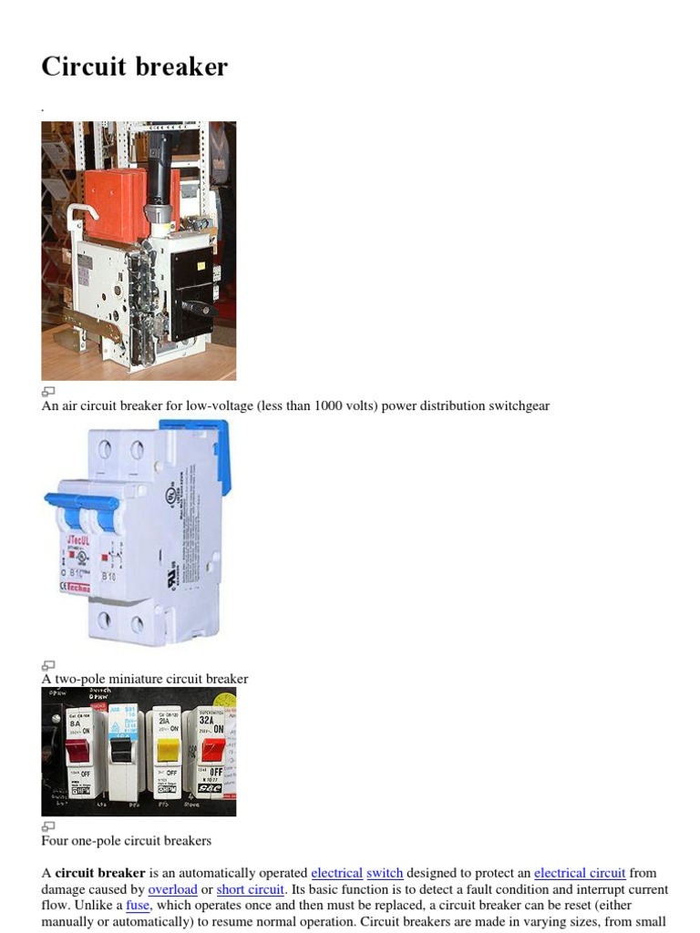 Circuit Breaker 1docx High Voltage Electric Arc Electrical Breakers