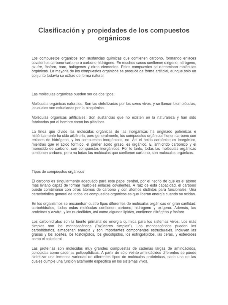 Clasificacin y propiedades de los compuesto s orgnicos urtaz Choice Image