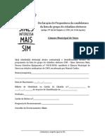 Declaração de propositura para recolha de assinaturas