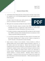BOJ Statement On Monetary Policy English 8-8-13