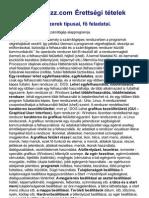 Érettségi Portál 2013, Operációs rendszerek típusai, fő feladatai