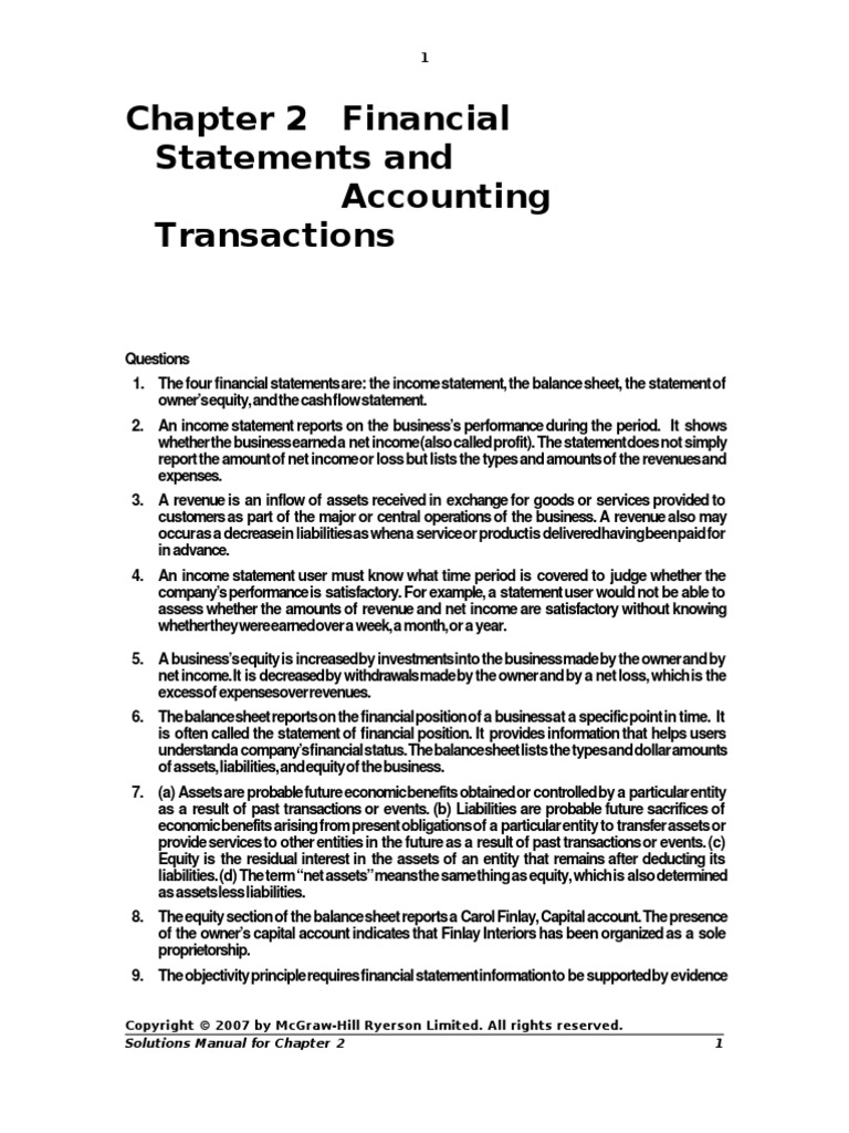Chapter 2 Financial Statements | Balance Sheet | Equity