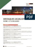 Destaques Lesgislativos Entre 1 e 12 de Julho