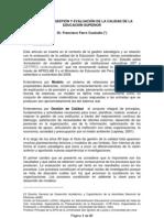 Modelos de Gestion y Evaluacion de La Calidad de La Educacion Superior