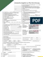 formular angebotsanforderung kfz-versicherung leer