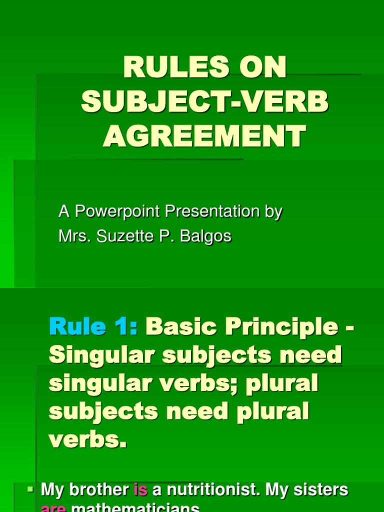 Subject Verb Agreement Powerpoint Grammatical Number Verb