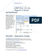 Build Oracle Erp r12 11i General Ledger Report in Excel Spreadsheet
