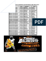 Calendario 8vo Torneo de Baloncesto Superior Con Refuerzos Jima Abajo 2013