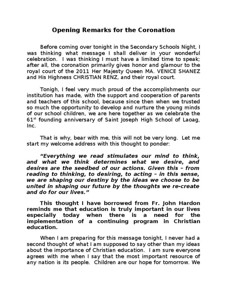 Opening remarks teachers day 2014 - Essay Sample