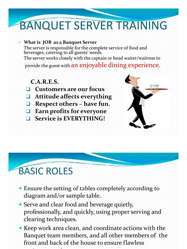 banquet server basic skill training 1 tableware food and drink rh scribd com Banquet Set Up Training Banquet Set Up Training
