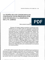 La teoría de los condicionales contrafácticos propuesta por Luis de Molina y la respuesta de G. W. Leibniz