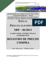 PREGÃO 06-2013 - SRP TONERS