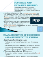 Discursive and Argumentative Writing