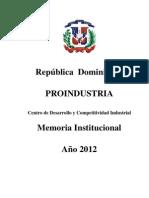 Memoria Proindustria 2012