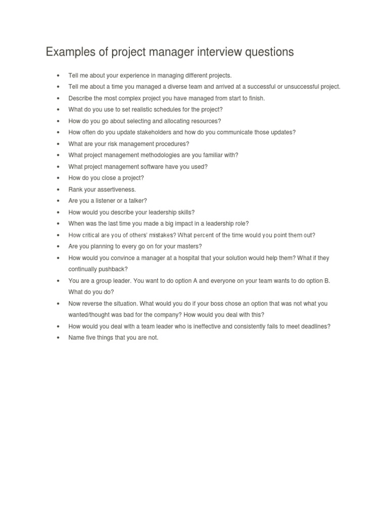 examples of project manager interview questions interview