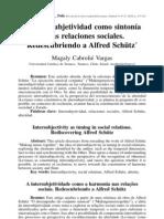 Cabriolé, 2010, La intersubjetividad como sintonía en las relaciones sociales. Redescubriendo a Alfred Schütz