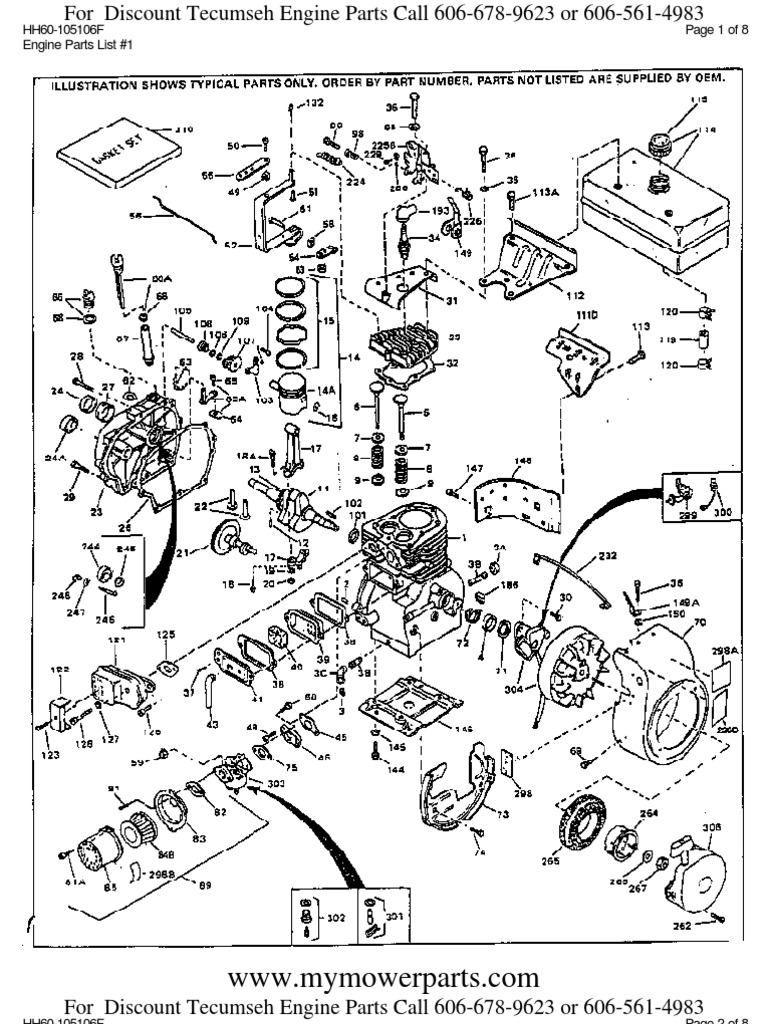 Tecumseh Engine Parts Manual Hh60 105106f Piston Cylinder Wiring Harness