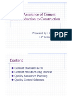 Quailty Assurance of Cement