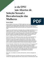 Agências da ONU Estimulam Abortos de Seleção Sexual e Desvalorização das Mulheres