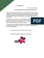 FEUST Comunicado Público en apoyo al Sindicato de Trabajadores/as Santo Tomás