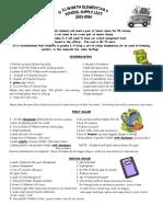 2013-2014 School Supply List