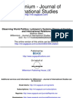 Observing World Politics - Luhmann's Systems Theory of Society