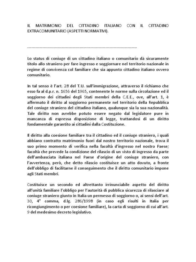Il Matrimonio Del Cittadino Italiano Con Il Cittadino ...