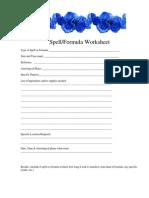 Spell & Formula Worksheet